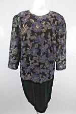 vtg 80s Another Thyme Black Velvet Pencil Dress Floral Plus 22W Gold Wiggle
