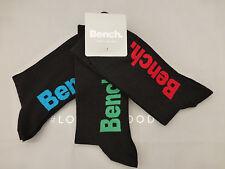 BENCH Casual Sock Men's Designer Black UK 9-11 Rich Cotton Crew Socks 3p/p BNIP