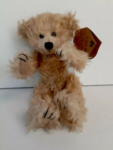 "NWT Heartfelt Collectible 9"" Shaggy Plush Golden Beige Bear ""JIMMY"" Jointed"