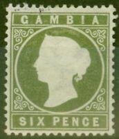 Gambia 1887 6d Olive-Green SG32d Fine Mtd Mint