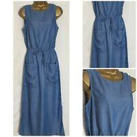 Next Chambray Lyocell Sleeveless Midi Dress Sizes 8 - 20 Reg and Petite (n-82h)