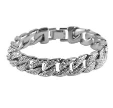 Mens Silver Luxury Iced Out Cuban Curb Diamonds Miami Chain Bracelet Jewellery