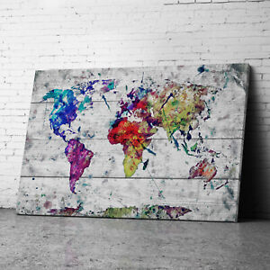 Large Framed Vintage Pink Blue Map Of World Canvas Prints Wall Art