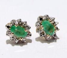 Genuine Birthstone MAY Yellow Gold Diamond EMERALD Earrings Fashion 10k