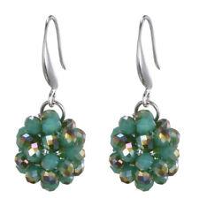 Silver Plated Emerald Green Cluster of Rhinestones Drop Circle Dangle Earrings