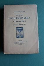 Abbé PREVOST - Manon Lescaut - ed. J. CRES - les maitres du livre - 1922