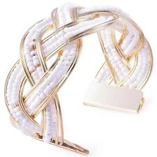 UK Beach/Summer Beaded Twist Wrap Gold Plated Black/White/Gold Bracelet/Bangle