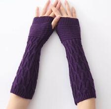 Women Unisex Knitted Fingerless Gloves Wrist Hand Arm Warmers Soft Mittens
