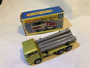 Vintage Diecast Lesney Matchbox Superfast 1970 DAF Girder Truck Lorry with Pipes