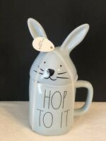 """New RAE DUNN Easter """"HOP TO IT"""" Blue Mug With Bunny Head Topper By Magenta"""