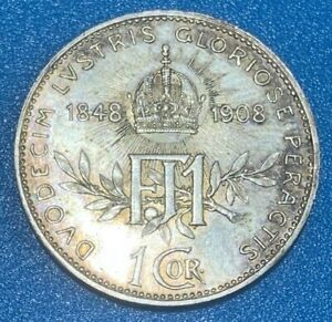 1908 Austria - Habsburg 1 Corona - Franz Joseph I Reign 0.835 Silver Coin
