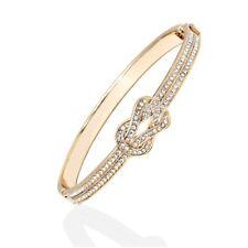 18k Gold Plated Gold and Clear Swarovski Elements Knot Bangle Bracelet