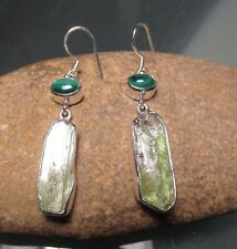 Sterling silver chunky rough green kyanite, & malachite earrings. Gift Bag.