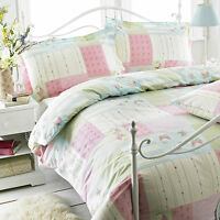 GREAT KNOT-POLY COTTON FLORAL DUVET COVER SET JULIET PINK SINGLE