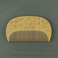 Japanese Satsuma Boxwood Comb with Carving for Women