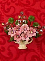 Exquisite Pink Enamel Flower Bouquet Brooch Aurora Borealis Rhinestones Vintage