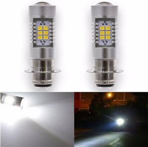 2x 12V H6M P15D Moped Scooter LED Headlight Bulb White Fog Light Projector Lens