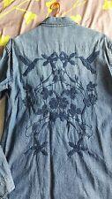 magnifique chemise pour homme - zara - jean - broderie fleurs - oiseaux - NEUF