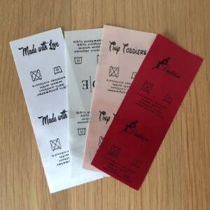 Sew In craft personalised clothing school wash care labels 4.5cm by 7cm