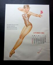 """Vintage September 1955 sexy risque pin-up calendar page by Petty  8"""" x 10"""""""