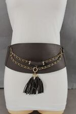 Women Belt Elastic Brown Wide Corset Hip High Waist Gold Chains Fringe Size S M