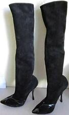 Bottega Veneta Sz 39/9 Black Suede/Patent Leather Boots Over Knee Stiletto $1450