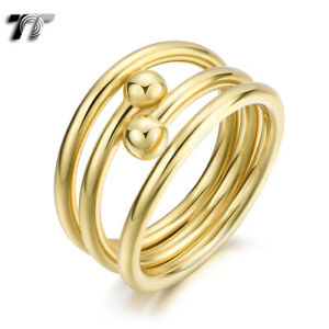 TT Gold Tone Stainless Steel Ball Band Ring (R386) NEW