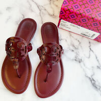 NIB Tory Burch Miller Croc Embossed Leather Sandal Flip Flop Claret 7.5 8 8.5 9