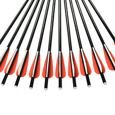 """12X 18"""" Crossbow Bolts Fiber Glass Arrows with Flat Nock Archery Xbows Hunting"""