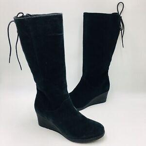 UGG Women's Dawna Waterproof Wedge boot size 9 Black suede