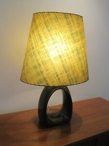 Mid Century Modern Green Drip Glaze Table Lamp Fiberglass Shade Vintage Light