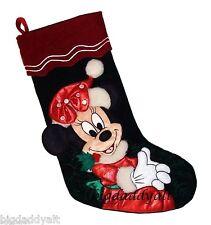 NEW Disney World Parks Santa Minnie Mouse Plush Christmas Holiday Stocking