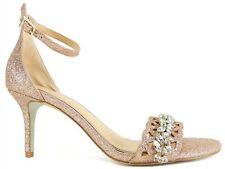 Badgley Mischka Jewel Alexandra Embelished Pointed-T Champagne Satin Size 7.5M