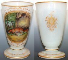 Antique Napoleon III Era White Opaline Goblet or Chalice, Hand Painted Fox Hunt