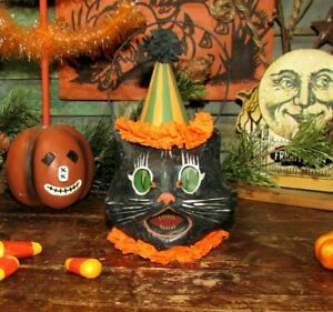 Prim Antique Vtg Style Halloween Sm Paper Mache Scardey Sassy Black Cat Bucket