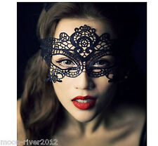 Black Lace WIDER Eye Mask Venetian Masquerade Halloween Party Dress Costume UK