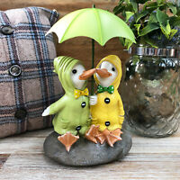 Duck Couple On Rock With Umbrella Garden Sculpture Statue Decorative Ornament