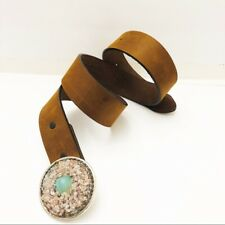 Justin Cowboy Crystal Medallion Cowhide Leather Belt Brown Sz 30