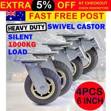 """4X 6""""/150mm Heavy Duty Swivel Caster Wheels Castor 1000KG Load, Two with Brakes"""