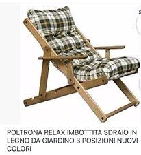 poltrona relax Imbottita Sdraio In Legno Da Giardino E Per Casa 3 Posizioni !!