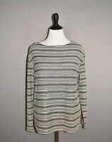 J. JILL $89 Blue Ivory Textured Striped Boat Neck Top Large