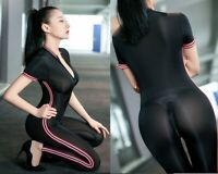 Body Gymnastikanzug Sport Turnanzug Mädche Zipper Offen Bodysuit Overall Black