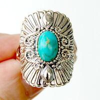 R003  Bague Style Vintage Argent Massif 925  Turquoise t57