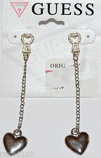 NWT Guess Silver & Gold Metals Clear Rhinestone Key & Dangling Heart Earrings