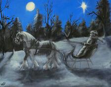 "Moonlight Sleigh Ride"" By K. Fejes Gypsy Vanner, Horse Cob Print  8X10"