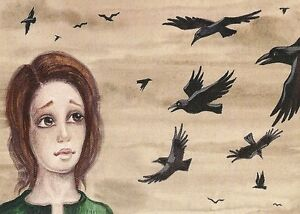 ACEO PRINT OF PAINTING RYTA RAVEN CROW WITCH HALLOWEEN SPELLS WICCA FOLK ART SKY