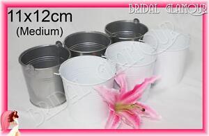 10x Tin Pail - 11x12cm Medium Bucket Candy Buffet Easter Favour Bomboniere Metal