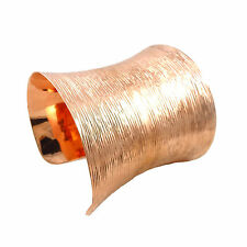 Solid Brushed Copper Large Bracelet Cuff