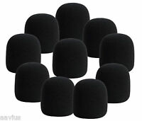 10-Black Microphone Windscreen Foam Cover for Ball Type Stage Handheld Vocal Mic