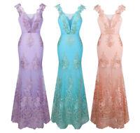 Angel-fashions Damen V-Ausschnitt Stickerei Spitze Blume Abendkleid 310
